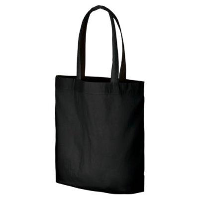 画像1: コットンガゼットマチ付バッグ(L) ブラック