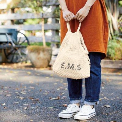 画像2: ネットバッグ 厚手コットン巾着付 ナチュラル